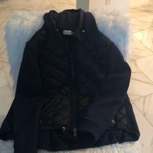 Moncler zip front quilted and sweatshirt jacket.